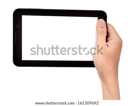 female hand holding a tablet touch, isolated on white background