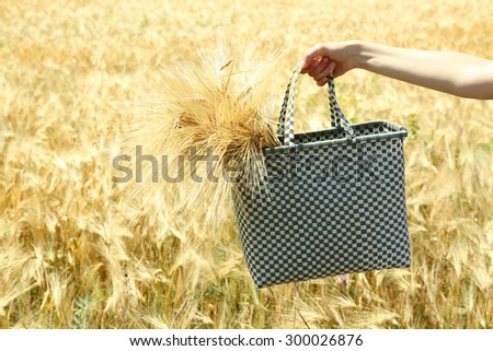 Female hand holding bag with sheaf outdoors - stock photo