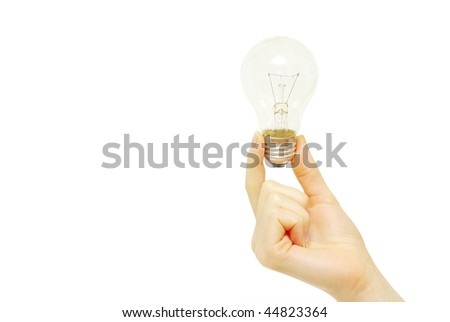Female hand holding bulb isolated on white background - stock photo