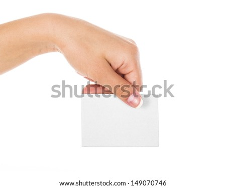 Female hand holding business card isolated on white