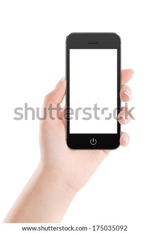 Female hand holding modern black mobile smart phone with blank screen isolated on white background. High quality. - stock photo