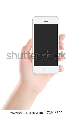 Female hand holding modern white mobile smart phone with blank screen isolated on white background. High quality. - stock photo