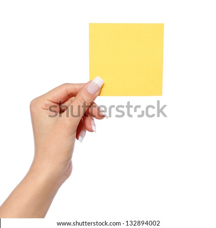 female hand holding note paper, isolated on white background, yellow sticker - stock photo