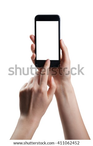 Female hand holding smart phone isolated on white background with clipping path - stock photo