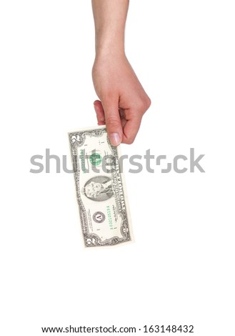 Female Hand Holding Two Dollar Note