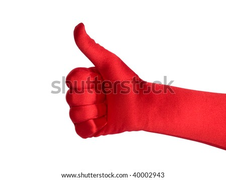 Female hand in red glove shows thumb up, isolated over white. Series. - stock photo
