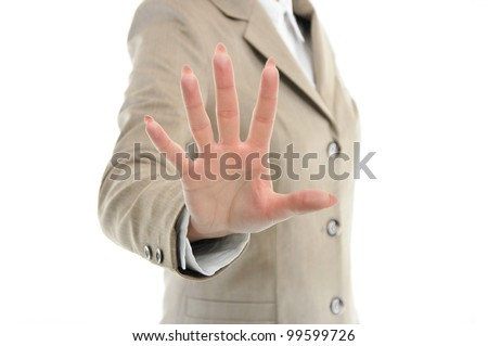 female hand in suit reaching or touching something with fingers isolated on white - stock photo