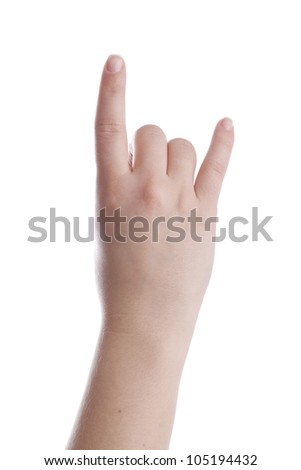 Female hand is showing metal sign. isolated on white. - stock photo