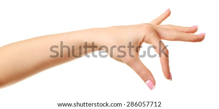 Female hand isolated on white - stock photo