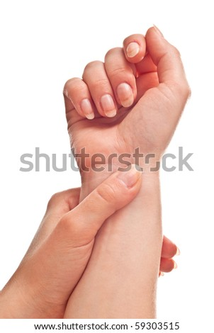 Female hand isolated on white background. Studio shot - stock photo