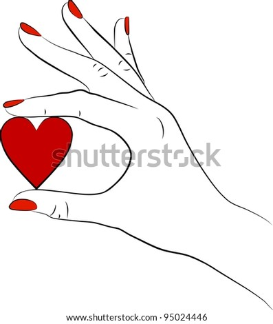 female hand isolated on white background with red heart - stock photo