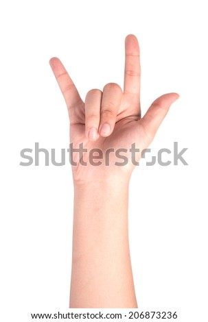Female hand  isolated on white ,love sign