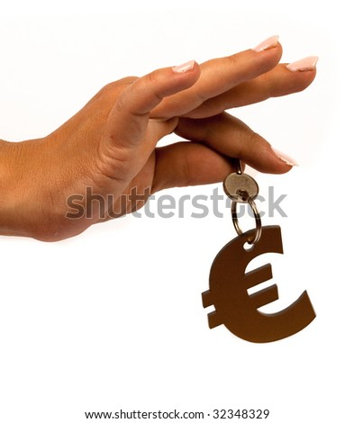 female hand KEY and euro sign - stock photo