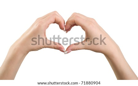 Female hand making sign heart isolated on white background.
