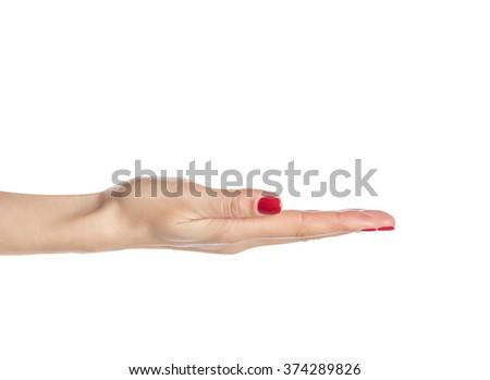 Female hand palm up isolated on white background. - stock photo