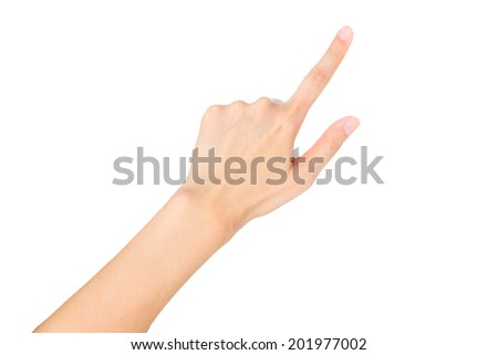 Female hand pointing isolated on white background - stock photo