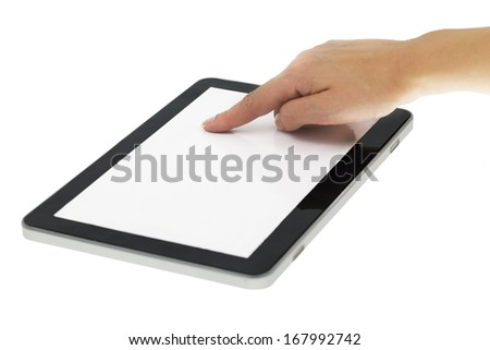 Female hand pointing on tablet with blank screen isolated - stock photo