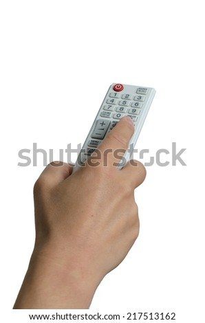 Female hand pointing with a white remote control - stock photo