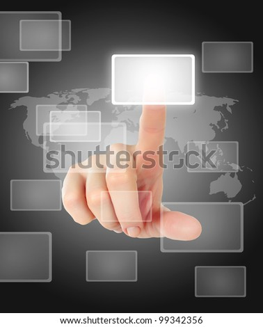 female hand pushing a button on a touch screen interface over black and white background - stock photo