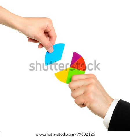 Female hand putting the last piece of a pie chart on place (partnership, teamwork, investment and other financial concepts) isolated on white background - stock photo