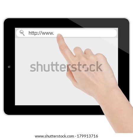 Female hand searching the internet on a tablet computer similar to ipad isolated on white - stock photo