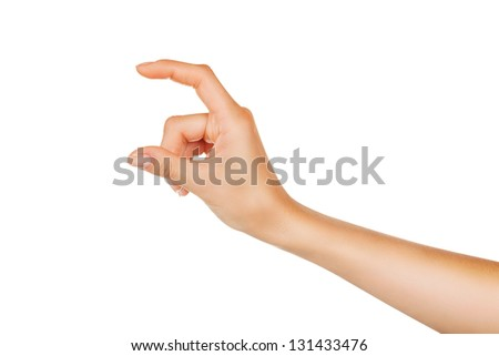 Female hand showing empty space isolated on white background