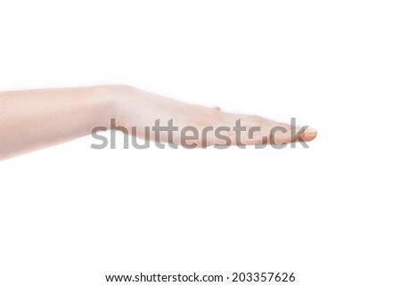 Female hand showing gesture on an isolated white background - stock photo