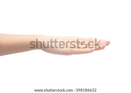 Female hand showing gesture on an isolated white with clipping path included