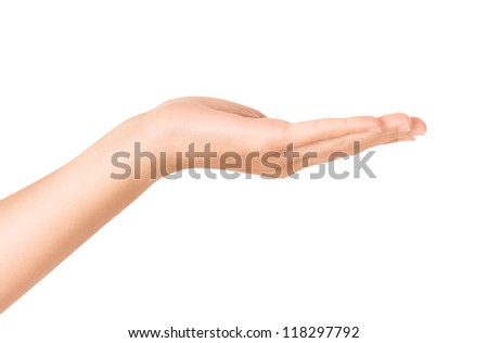Female hand showing open gesture. Isolated on white. - stock photo