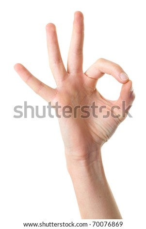 female hand shows OK gesture, isolated on white - stock photo