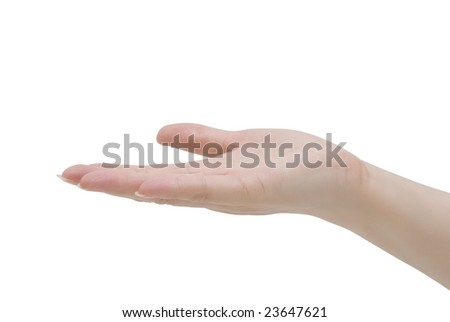 female hand stretched out with the palm up against white background as if it is offering something