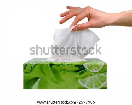 Female hand taking a tissue from a box - stock photo