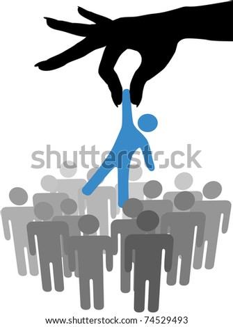 Female hand to reach find and choose a person from a group of symbol people - stock photo