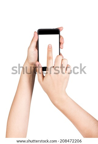 female hand touching empty smart phone screen isolated on white background. include clipping path.  - stock photo