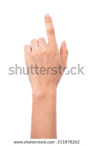 female hand touching isolated on white background