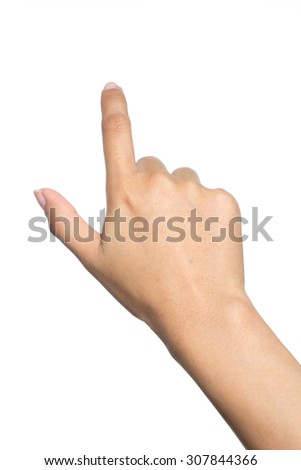 female hand touching or pointing to something on the isolated background - stock photo