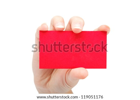 Female hand with a blank red card isolated on white background. - stock photo