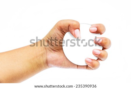 Female hand with a circle blank card isolated on white  - stock photo