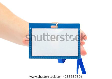 Female hand with a name tag isolated on white background. - stock photo