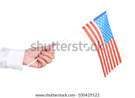 female hand with American flag isolated on white - stock photo
