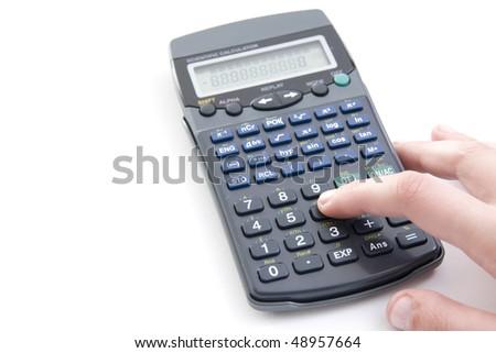 female hand with calculator - stock photo