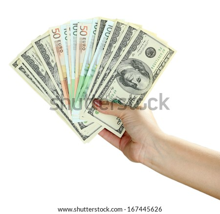 Female hand with dollars close up isolated on white - stock photo