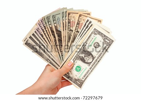 Female hand with dollars on a white background.