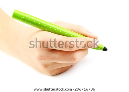 Female hand with felt-tip pen isolated on white - stock photo