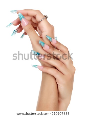 Female hand with long fingernails, white background, copyspace - stock photo