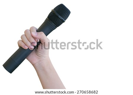 female hand with microphone isolate on white background - stock photo