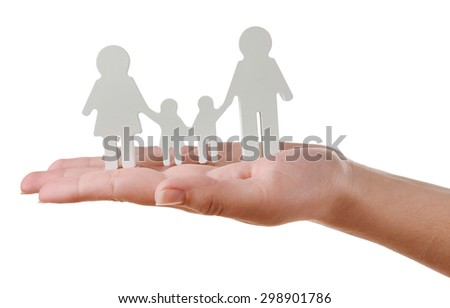 Female hand with model of family isolated on white