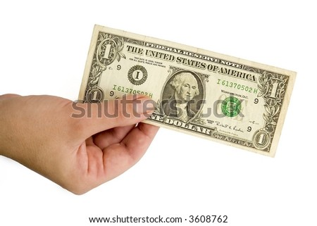 Female hand with one dollar on a white background. - stock photo