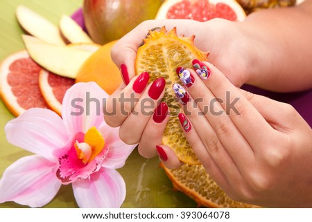 Female Hand Original Red Design Nails Stock Photo Royalty Free