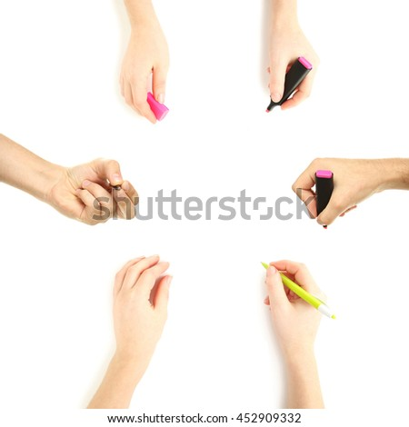 Female hand with pen on white background, collage - stock photo